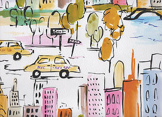 Обои разноцветные детские бумажные с изображением города 367531