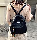 Рюкзак женский чёрный PU с надписями Love, фото 3