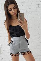 Комплект: Шорты в полоску и черная шелковая майка с кисточками