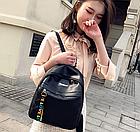 Рюкзак женский чёрный PU с надписями Love, фото 4