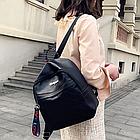 Рюкзак женский чёрный PU с надписями Love, фото 5