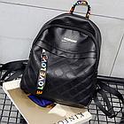 Рюкзак женский чёрный PU с надписями Love, фото 6