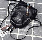 Рюкзак женский чёрный PU с надписями Love, фото 9