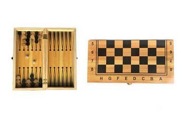 Набор 2 в 1 (шашки и шахматы) на деревянной доске