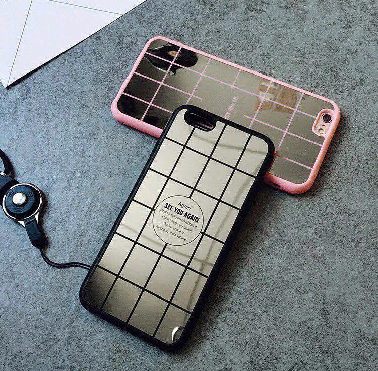 Чехол «Зеркало клетка» черный для айфон
