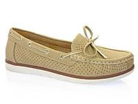 Мокасини туфлі жіночі без каблуку еко шкіра біжеві Inblu JR-1A