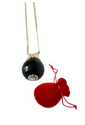 Аромакулон / Аромамедальон, из натурального камня Агат черный, на цепочке в бархатном мешочке, d 2cм
