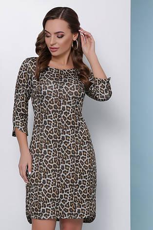Стильне облягаюче плаття по коліно з ангори з люрексом принт леопард, гірчичний, фото 2