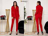 Новинка 2019! Стильный, женский костюм:брюки-дудочки + удлиненный пиджак без застежек