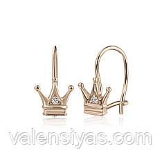 """Серебряные серьги """"Корона"""" с позолотой С3Ф/364"""