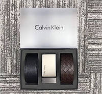 Мужской кожаный брючной ремень в стиле Ck (443),подарочный набор, фото 1