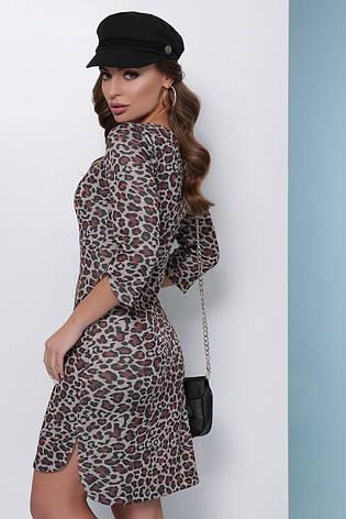 Молодіжне тепле облягаючу сукню до колін з люрексом принт леопард, теракотовий, фото 2