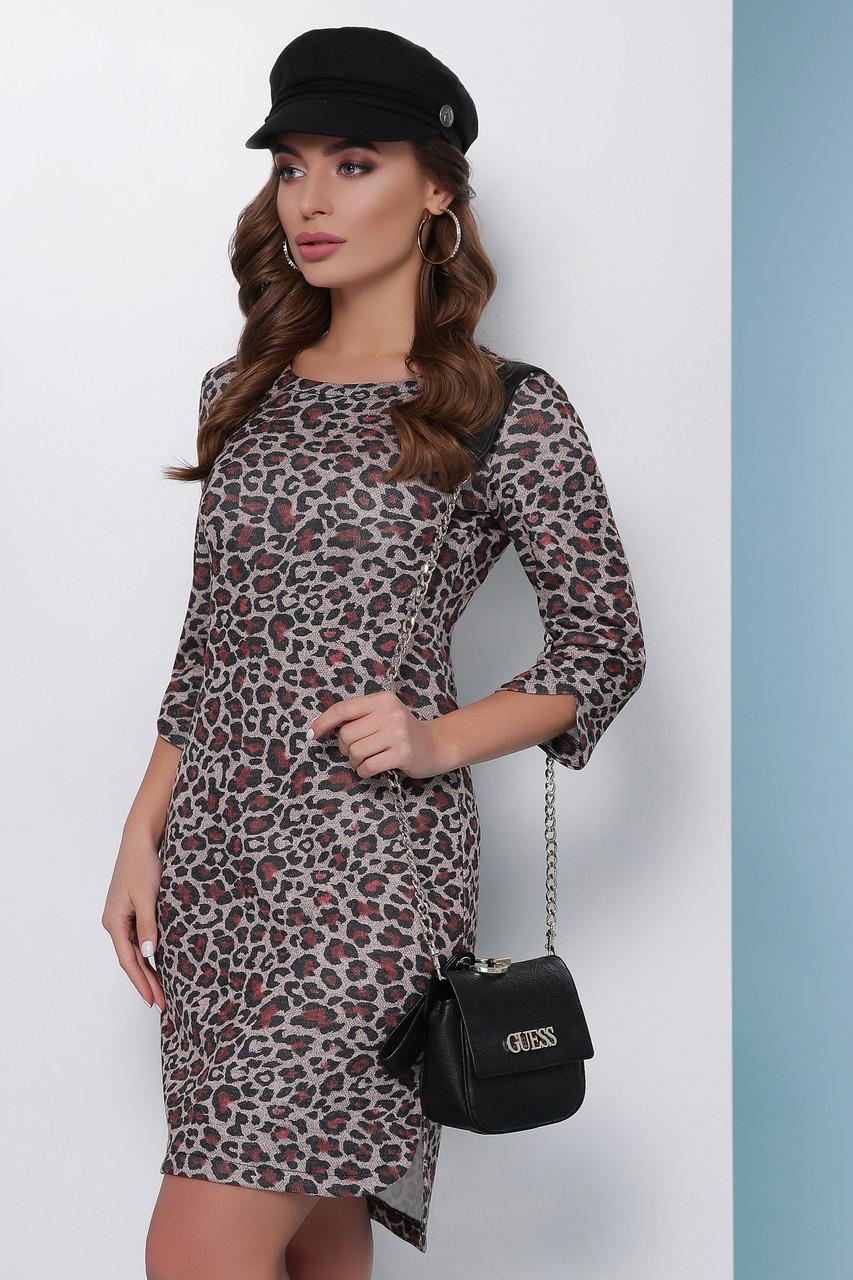 Молодіжне тепле облягаючу сукню до колін з люрексом принт леопард, теракотовий