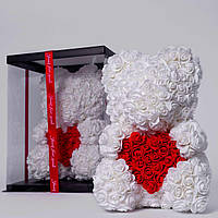 Мишка из роз в прозрачной подарочной коробке, 40 см белый с сердцем. Сделан в Украине - 140161