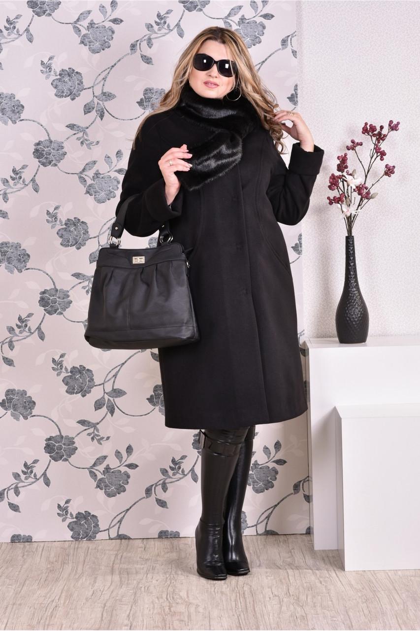 Черное пальто женское зимнее либо осеннее прямое большого размера (разные версии)  42-74. Т0153-2