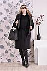 Чорне пальто жіноче зимове або осіннє пряме великого розміру (різні версії) 42-74. Т0153-2, фото 2