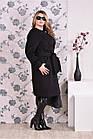 Чорне пальто жіноче зимове або осіннє пряме великого розміру (різні версії) 42-74. Т0153-2, фото 3