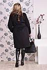 Чорне пальто жіноче зимове або осіннє пряме великого розміру (різні версії) 42-74. Т0153-2, фото 4