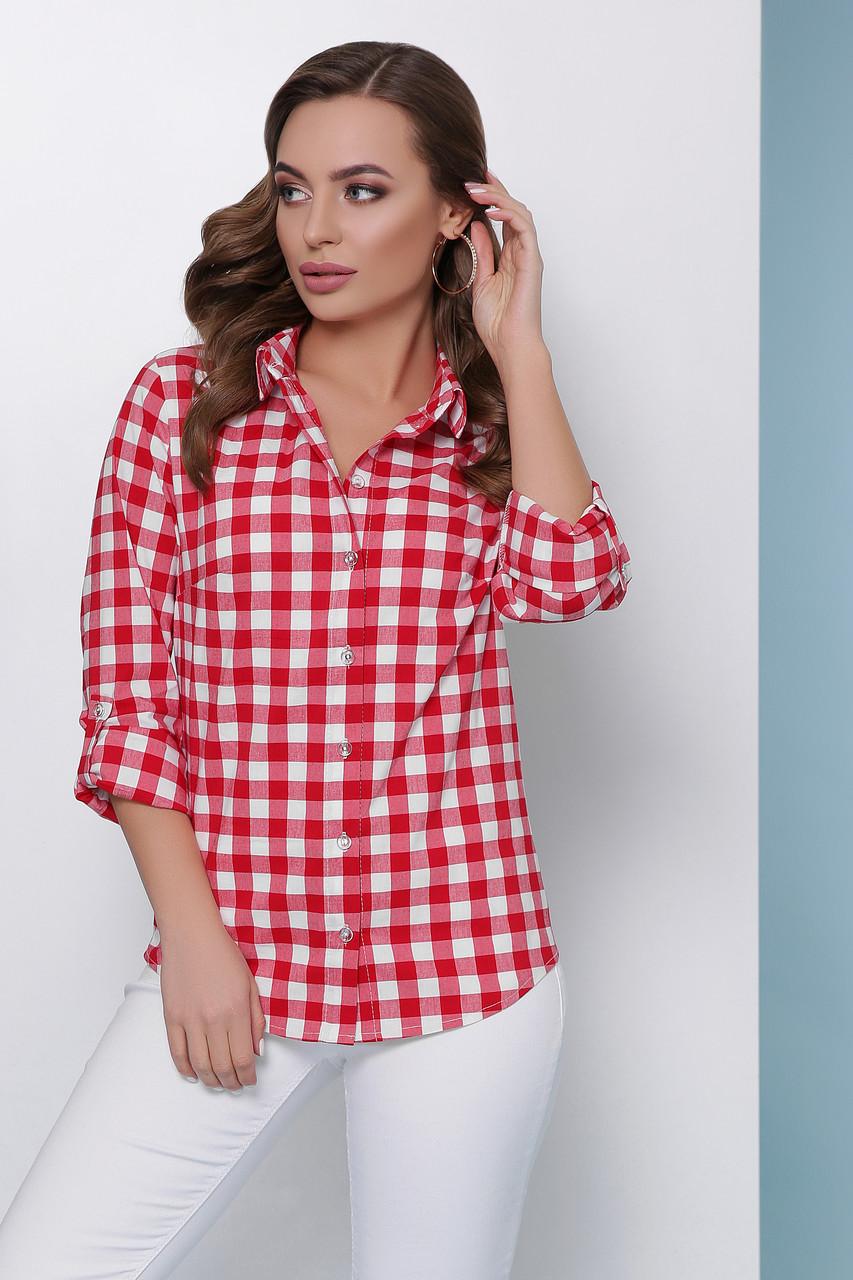 3e8014b6550 Женская классическая хлопковая рубашка в клетку с длинным рукавом ...