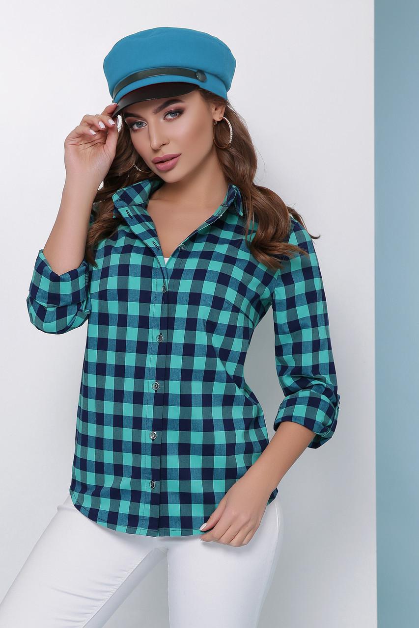 36de44459e7 Женская базовая легкая рубашка в клеточку с длинным рукавом ...