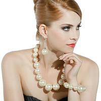 Ожерелье из крупного белого жемчуга Lambre - 142244
