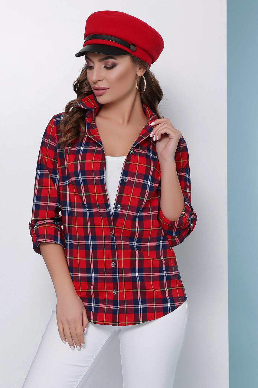 f6b16783ede Женская базовая легкая клетчатая рубашка