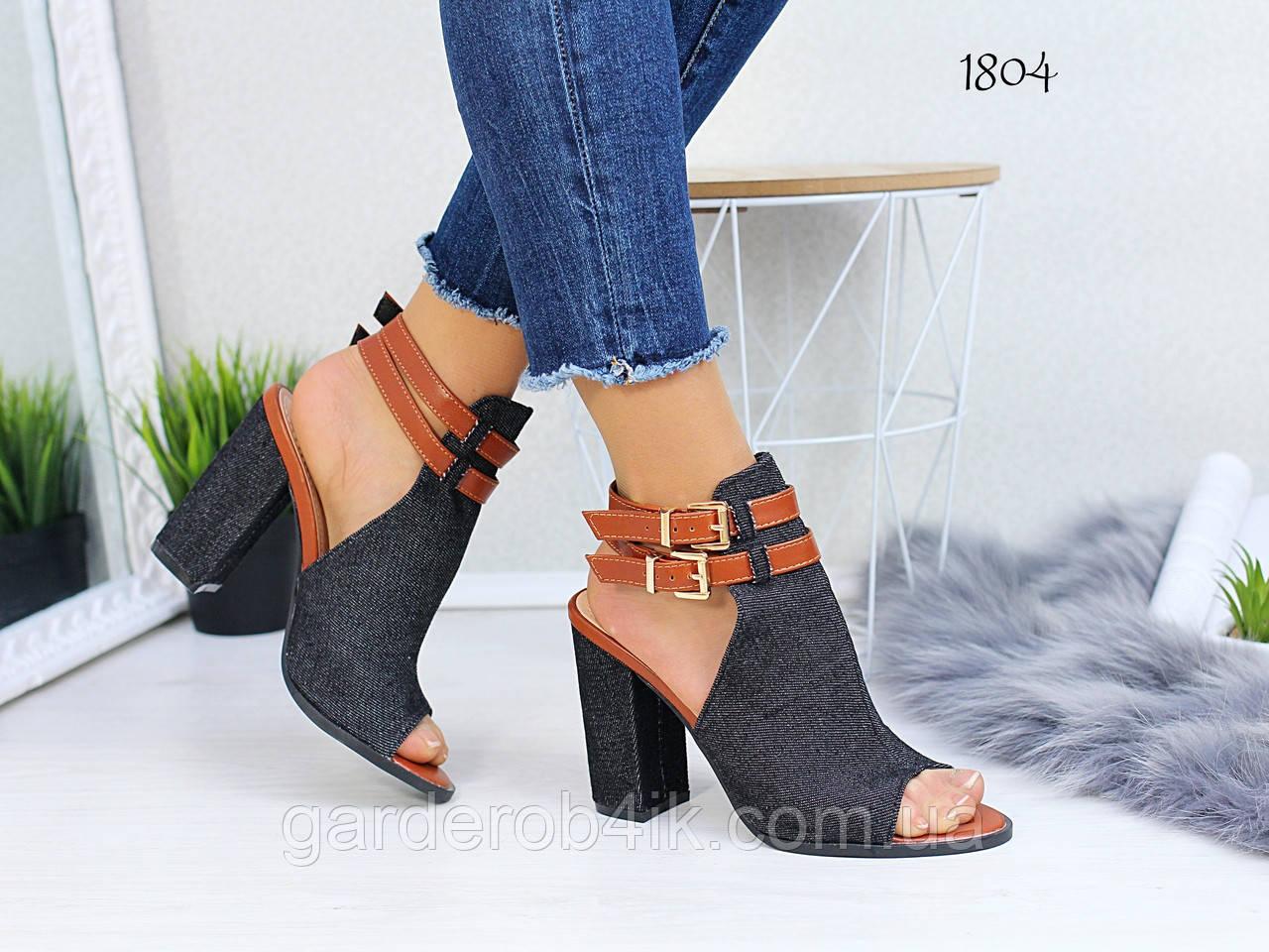 Женские босоножки джинсовые на каблуке