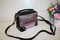 Розовая женская сумочка через плечо с длинным ремешком,два отделения