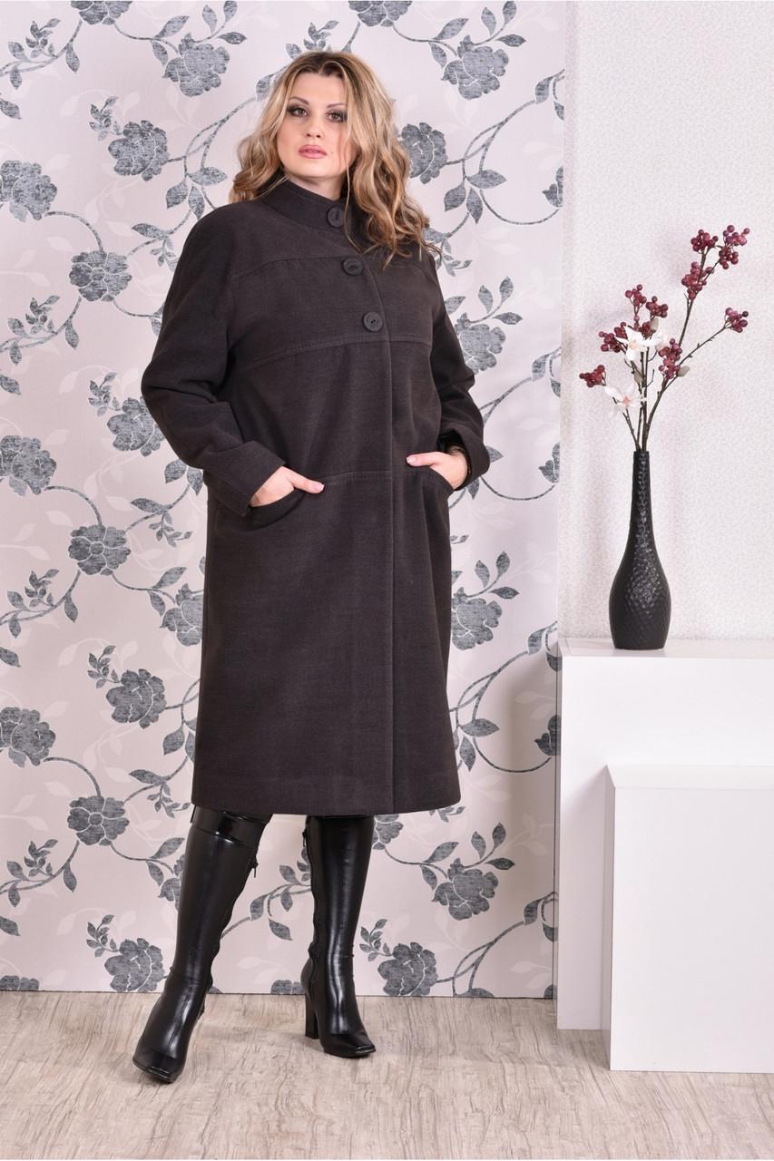 Темно-серое пальто женское стильное прямое большого размера (разные версии) 42-74.  Т0168-4