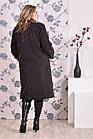 Темно-серое пальто женское стильное прямое большого размера (разные версии) 42-74.  Т0168-4, фото 3