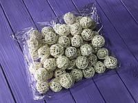 Ротанговые шарики S белые (упаковка 50 шт)