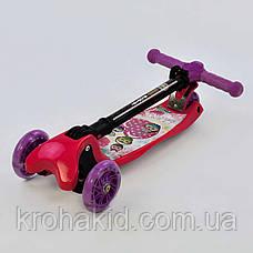 Самокат С 39400 Best Scooter СКЛАДНОЙ С ФАРОЙ, 4 колеса PU со светом, d=12 см, фото 3