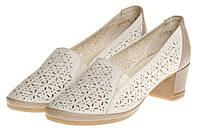 Кожаные женские летние туфли на устойчивом каблуке бежевые Mida 23809