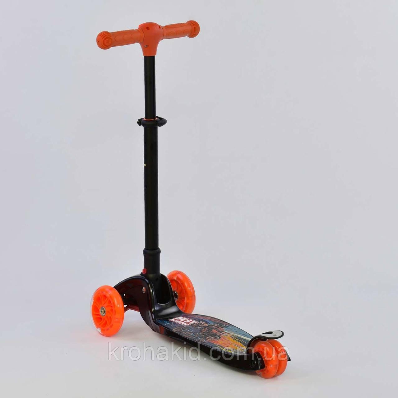 Самокат С 42300 Best Scooter СКЛАДНОЙ С ФАРОЙ, 4 колеса PU со светом, d=12 см