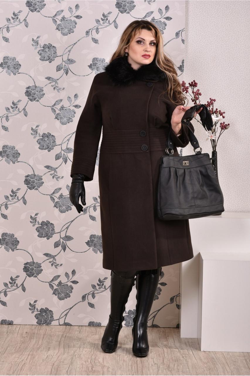 Коричневое пальто женское зимнее приталенное большого размера (разные версии) 42-74.  Т0199-1