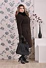 Коричневое пальто женское зимнее приталенное большого размера (разные версии) 42-74.  Т0199-1, фото 3