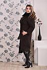 Коричневое пальто женское зимнее приталенное большого размера (разные версии) 42-74.  Т0199-1, фото 4