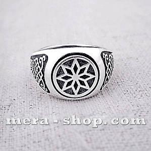 Алатырь Щит перстень славянский оберег из серебра