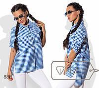 Рубашка женская свободная из коттона расклешенная (3 цвета) - Синий SD/-2339, фото 1