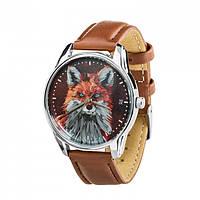 Часы Ziz Лисица, ремешок кофейно-шоколадный, серебро и дополнительный ремешок - R142846