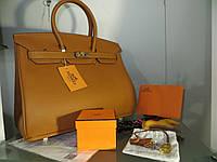 РУЧНАЯ РАБОТА. КОЖА ТОГО. Женская сумка от Hermes 35 см цвет кофе с молоком с горчичным оттенком