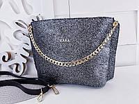 be7c8e19439d Стильная женская сумка, клатч черного цвета с блестками на ремешке с  цепочкой