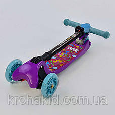 Самокат С 44500 Best Scooter СКЛАДНОЙ С ФАРОЙ, 4 колеса PU со светом, d=12 см, фото 2