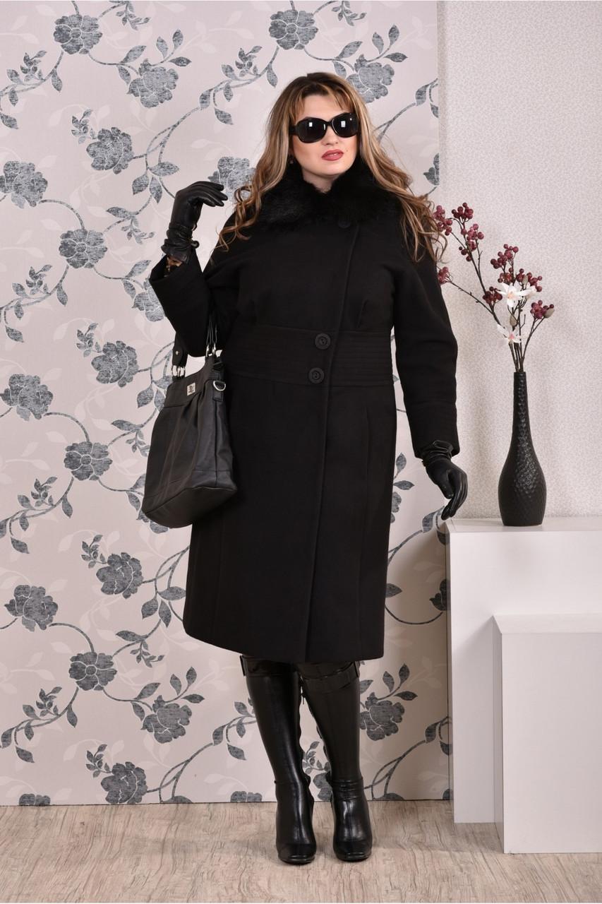 Черное пальто женское зимнее модное (разные версии) большого размера 42-74. Т0199-3