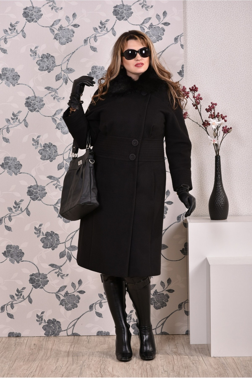 Чорне пальто жіноче зимове модне (різні версії) великого розміру 42-74. Т0199-3