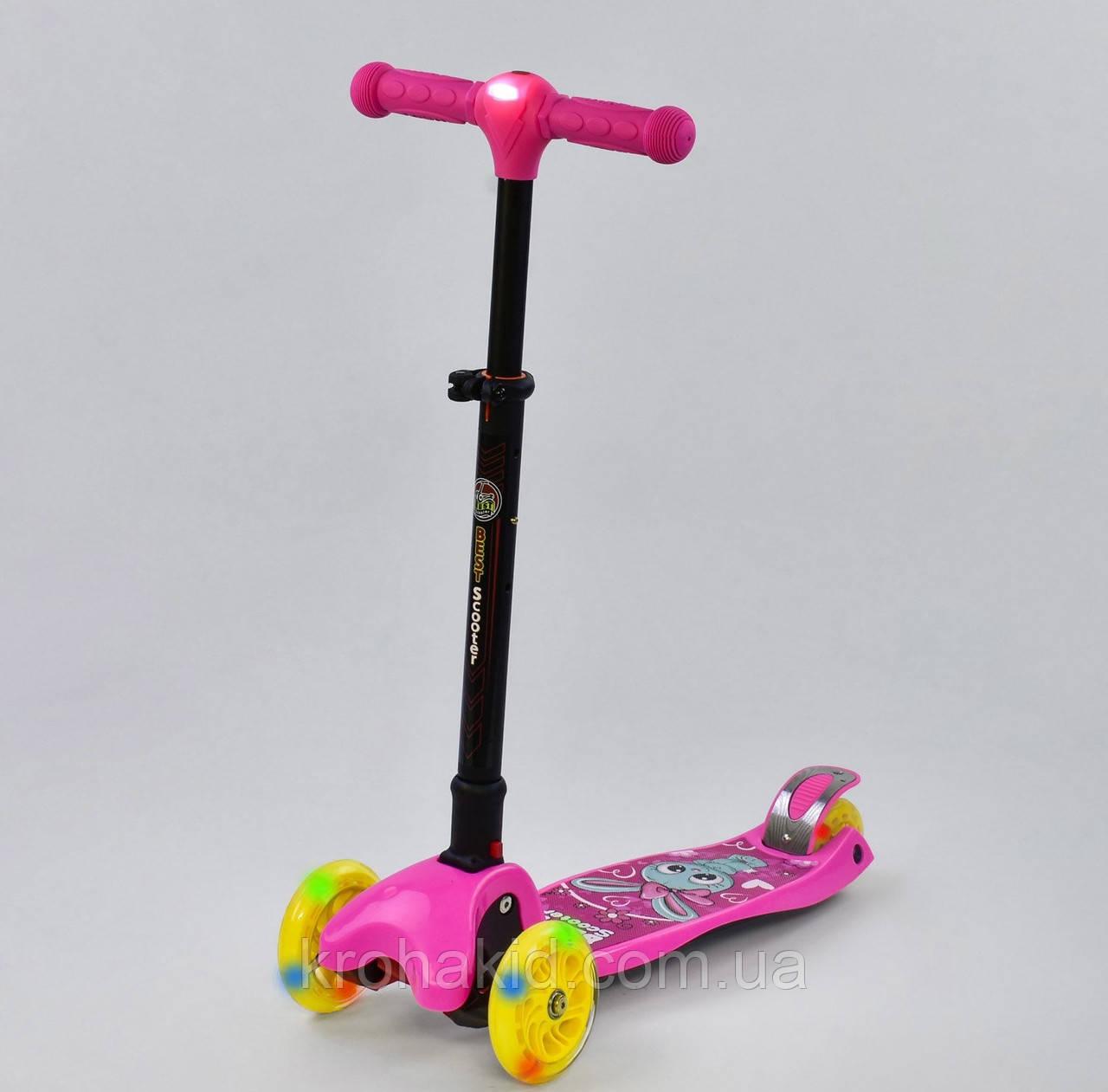 Самокат С 41200 Best Scooter СКЛАДНОЙ С ФАРОЙ, 4 колеса PU со светом, d=12 см