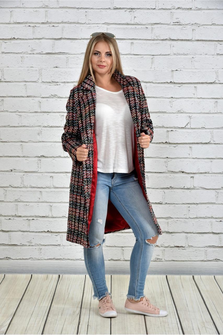 Пальто женское осеннее шанель красное в клетку боьшого размера 42-74. Т0332-2