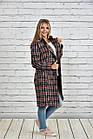 Пальто женское осеннее шанель красное в клетку боьшого размера 42-74. Т0332-2, фото 2