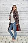 Пальто женское осеннее шанель красное в клетку боьшого размера 42-74. Т0332-2, фото 3