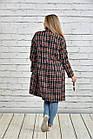 Пальто женское осеннее шанель красное в клетку боьшого размера 42-74. Т0332-2, фото 4